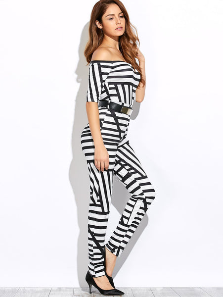 Half Sleeve Off-The-Shoulder Stripe Jumpsuit