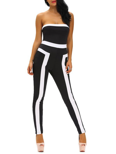 Tight Color Block Strapless Jumpsuit
