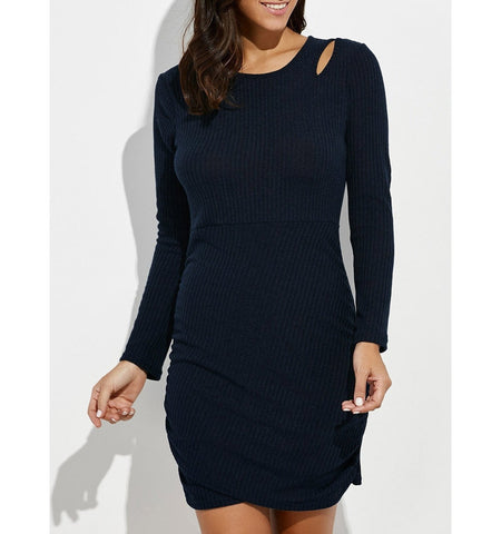 Cut Out Mini Ruched Knitted Dress in Black
