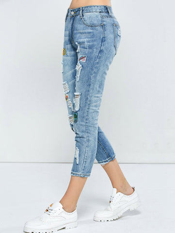 Patched Capri Distressed Jeans