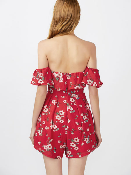 Off The Shoulder Ruffle Floral Print Romper