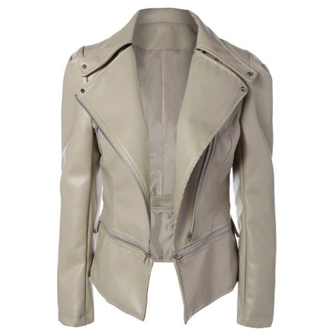 Ladies' Adjustable Faux Leather Biker Jacket