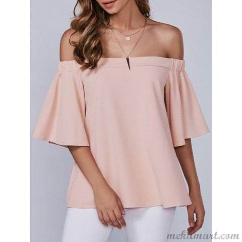 Ladies Off-The-Shoulder Blouse in Pink