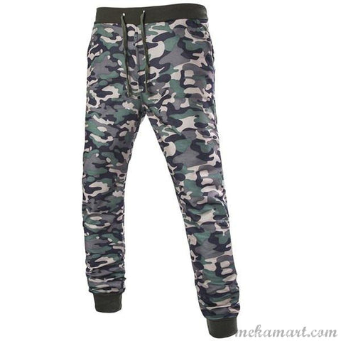 Men's Drawstring Beam Fit Defence Print Casual Pants
