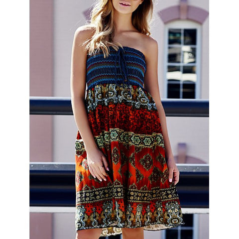 Ladies Bohemian Style Elastic Waist Tribal Print Skirt