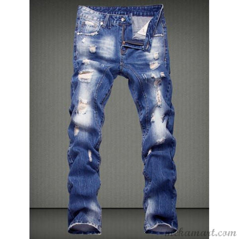 Ripped Denim Jean Pants For Men