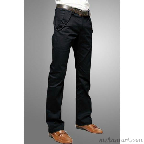Fly Pocket Straight Leg Cotton Pants for Men