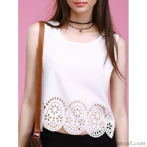 Scalloped Chiffon Tank Top for Women