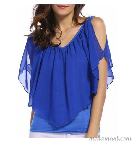 Cold Shoulder Overlay Blouse
