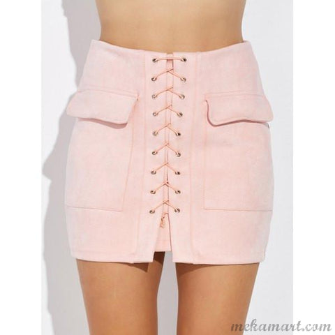 Ladies' Criss Cross Faux Suede Mini Skirt