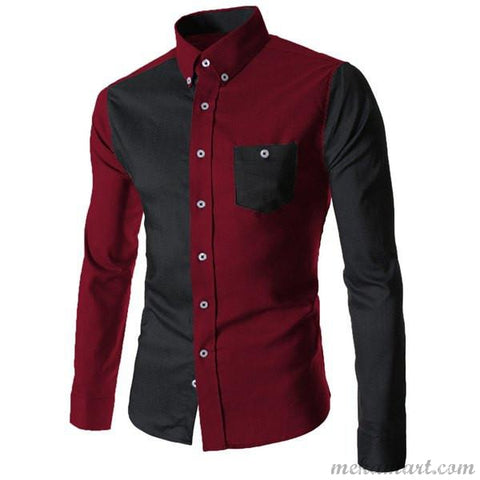 Men's Color Block Spliced  Long Sleeve Shirt