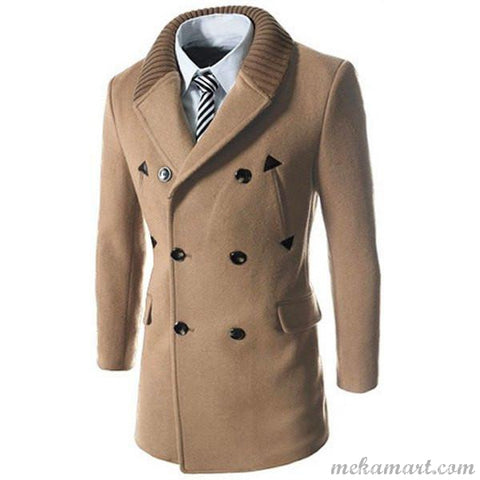 Men's PU Leather Woolen Blend Thickened Peacoat