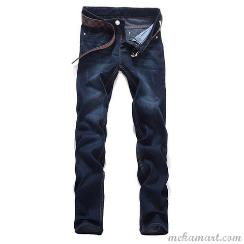 Men's Mid Waist Dark Washed Denim Jeans