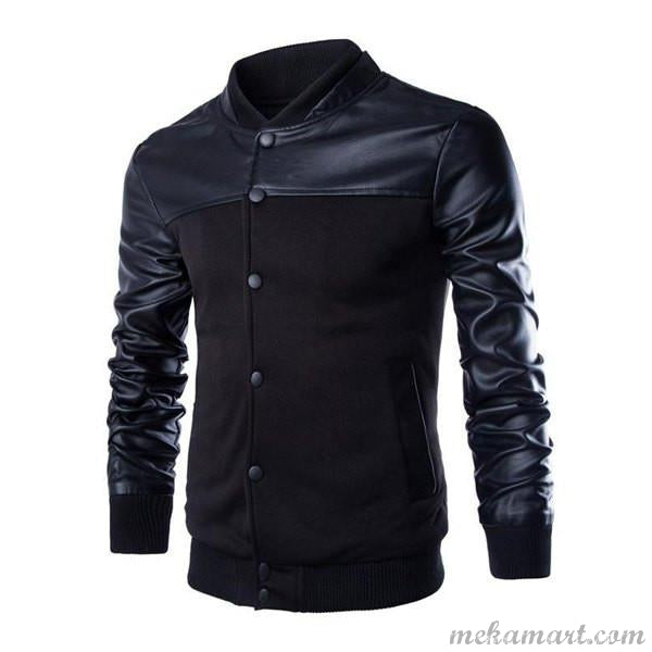 Men's Vogue PU Leather Spliced Rib Jacket