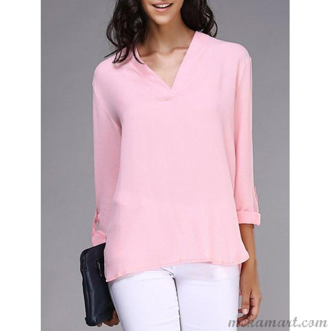 V-Neck Long Sleeve Loose Chiffon Blouse in Pink