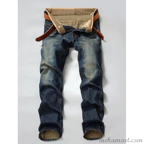 Men's Mid-waist Regular Straight Leg Denim Jeans