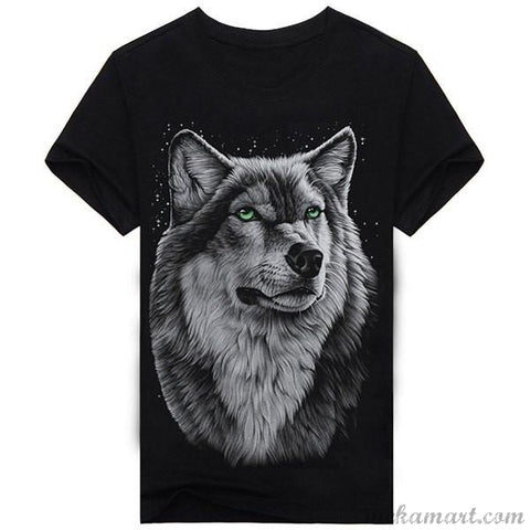 Men's Round Neck 3D Animal Wolf Print T-Shirt