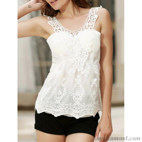 Top Fashionable Scoop Neck Lace Tank Top For Women