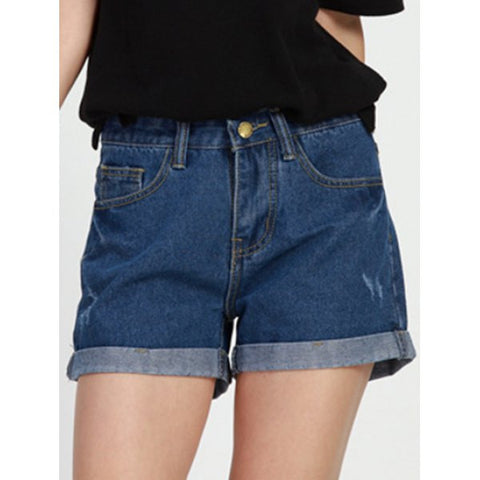 Ladies Simple Design Mid Waist Solid Color Denim Shorts