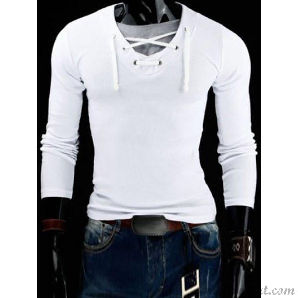 Men's V-Neck Drawstring Long Sleeve T-Shirt