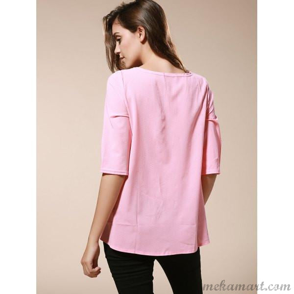 Round Neck Loose-Fitting Blouse in Pink