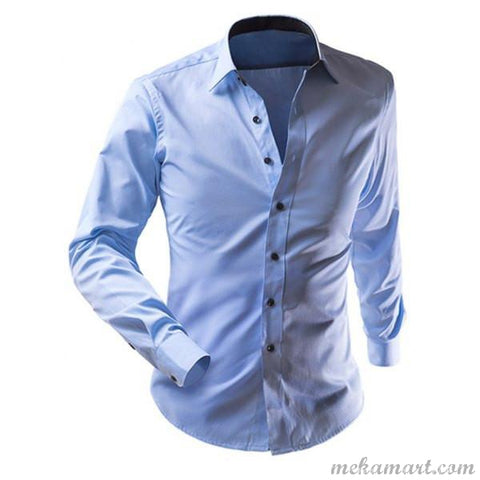 Men's Solid Color Long Sleeve Formal Collar Shirt