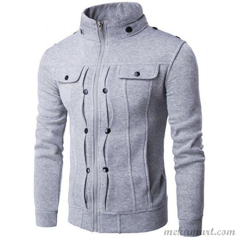 Men's Stand Collar Cotton Blend Jackets