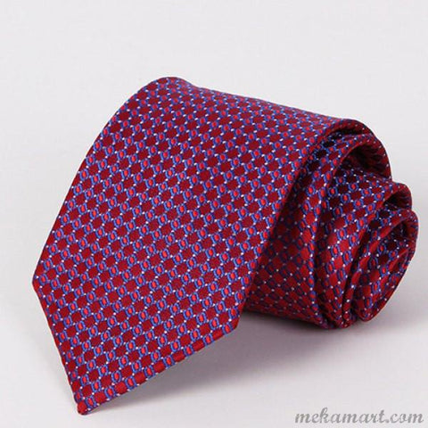 Tie Stylish Checkered Mesh Jacquard Tie For Men