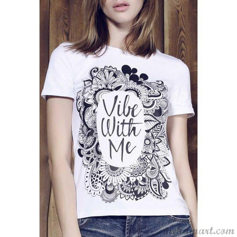 Women Stylish Round Neck Letter Print Tees