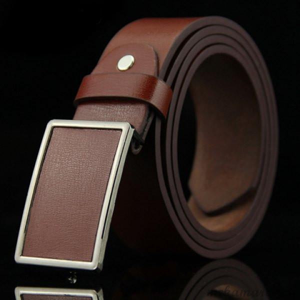 Men's Stylish Smooth Rectangle Buckle Belt