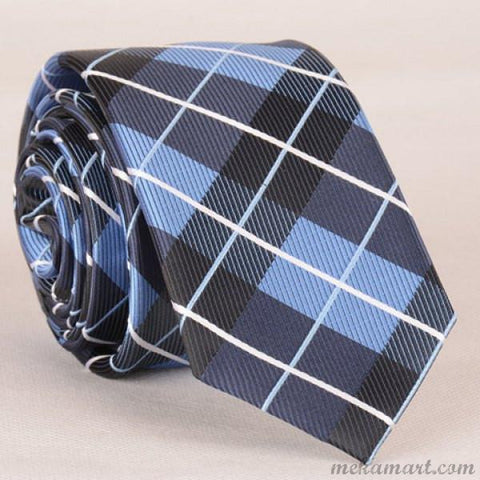 Tie Stylish Striped Embroidery Tartan Jacquard Tie for Men