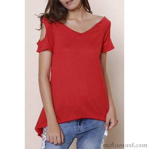 Female Women Stylish V-Neck Cut Out Tees