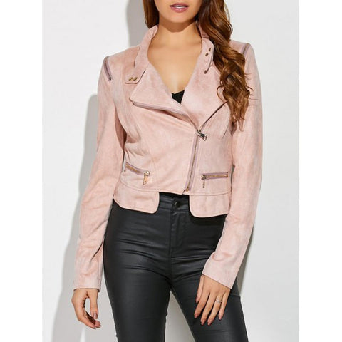 Ladies' Sueded Slim Fit Trendy Leather Jacket