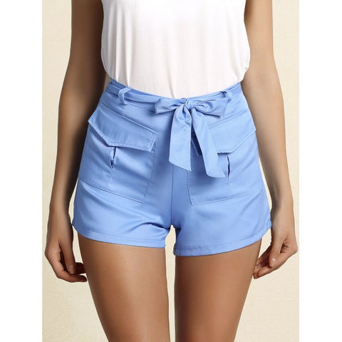 Ladies Trendy Belted Blue Straight Leg Shorts