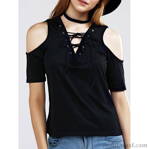 Female Women Trendy Lace Up Cutout Solid Color Tees