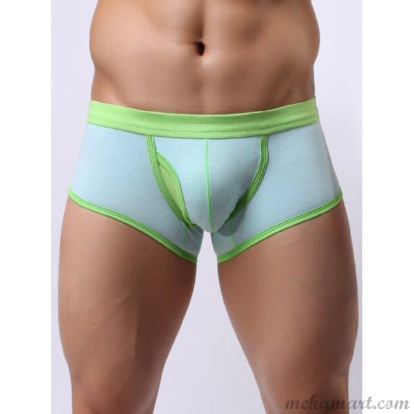 Men's Block Splicing U Convex Pouch Boxer Brief