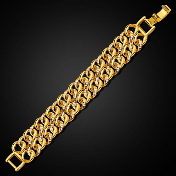 Vintage Double Loop Rhinestone Bracelet For Men & Boys