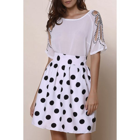Women's Vintage High-Waisted Polka Dot Ruffled Skirt