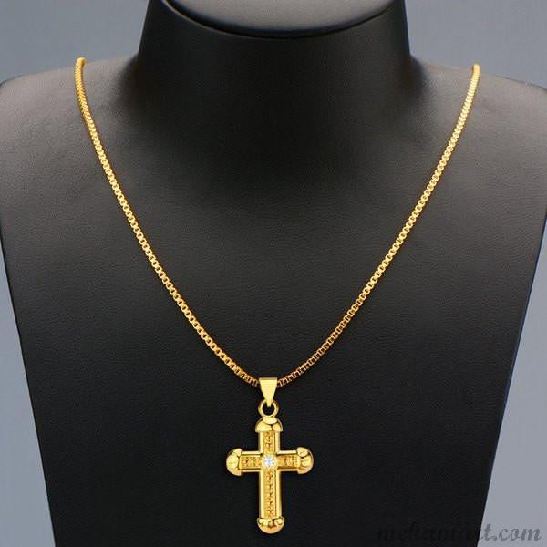 Men's Vintage Rhinestone Crucifix Gold Necklace