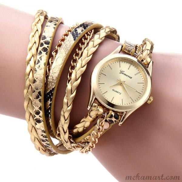 Ladies Gold Color Weaven Bracelet Set With Gold Quartz Watch