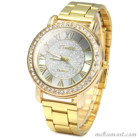 Ladies Gold Colour Luxury Quartz Diamond Wrist Watch