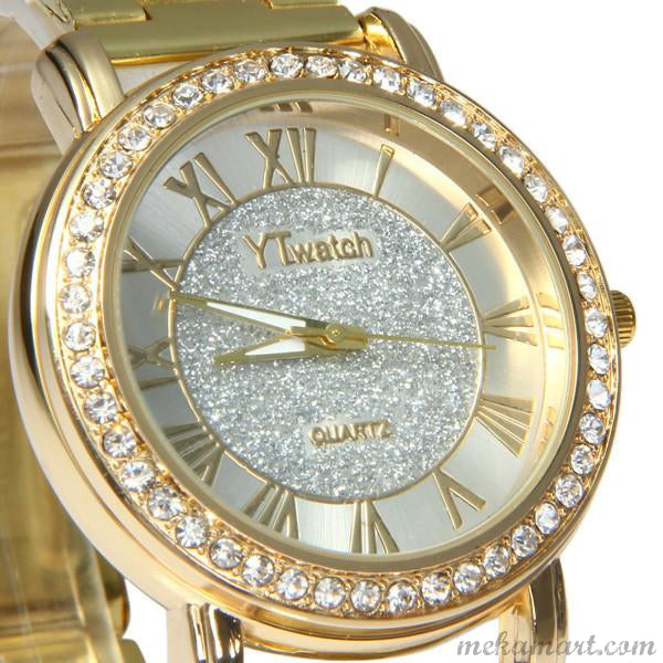 7169eac50 Ladies Gold Colour Luxury Quartz Diamond Wrist Watch – MEKAMART