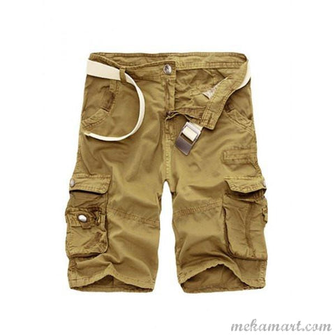Men's Zipper Fly Straight Leg Multi Pocket Cargo Shorts