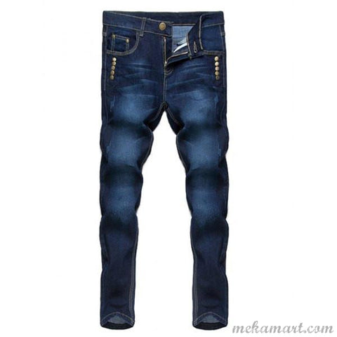 Men's Narrow Feet Mid-wasit Regular Jeans