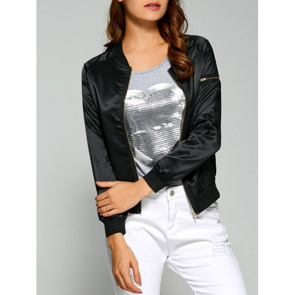 Ladies' Zippered Satin Bomber Jacket