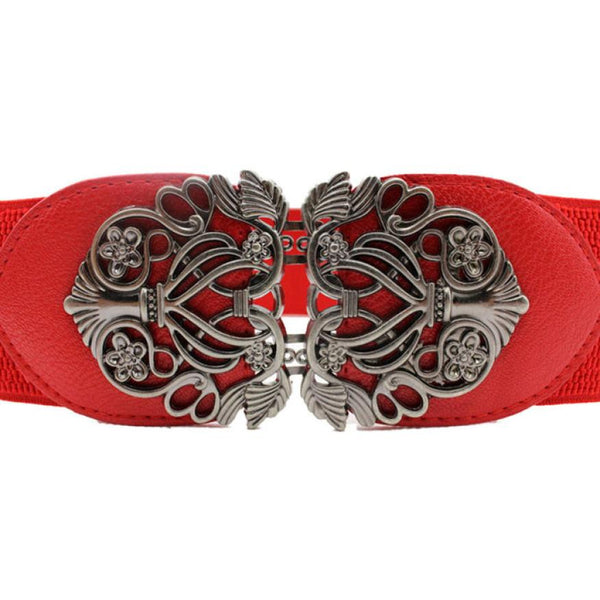 Ladies' Fashion Pin Buckle Elastic Wide Belts