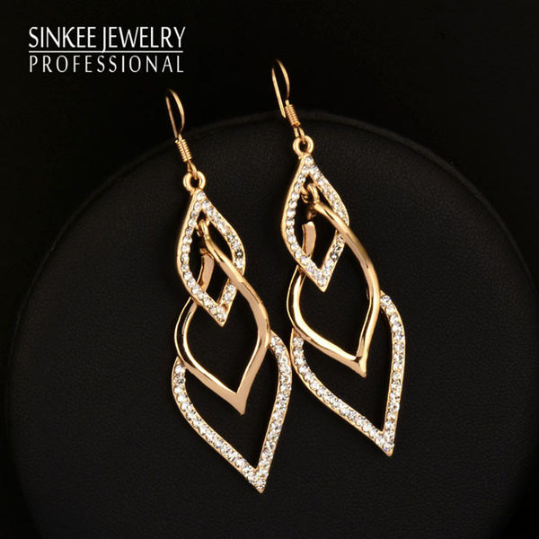 Jewellery Ladies Leaf Dangle 18K Yellow Gold Plated Earring