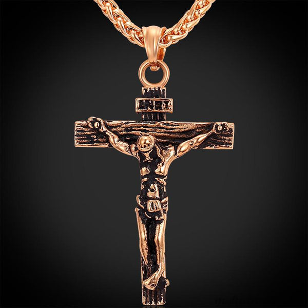 Men's Gold Plated Necklace with INRI Jesus Piece Cross Pendant