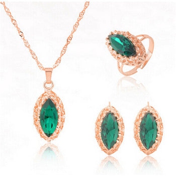 Women's Charm Crystal Gold-plated Trendy Jewelry Sets