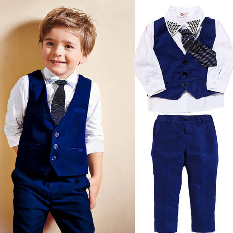 Boys Gentleman Formal Wear Suit Set Vest Shirt Pant Tie 4Pcs